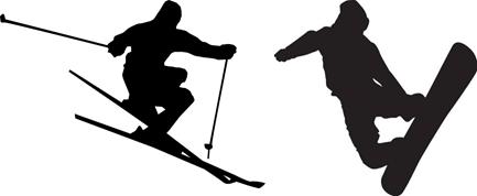 Skiier and Snowboarder